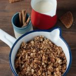 Stroopwafel Granola in a pot ready to be served.