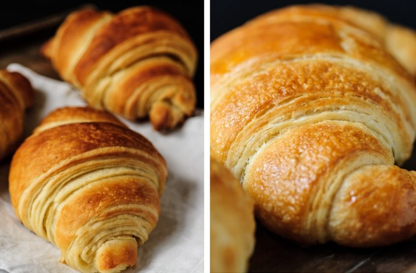 two pictures of vegan croissants next to each other