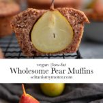 A collage showing a pear muffin that is cut in half and a pear.